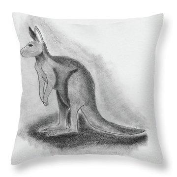Kangaroo Drawing Throw Pillow