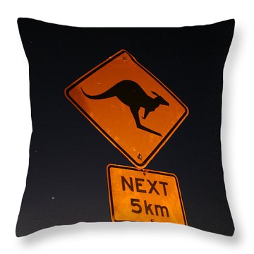 Throw Pillow featuring the photograph Kangaroo Road Sign In The Northern Territory by Keiran Lusk