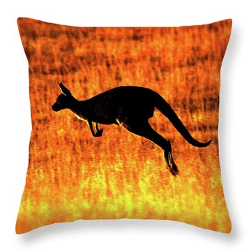 Kangaroo Sunset Throw Pillow