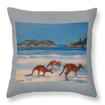 Kangaroos On The Beach Throw Pillow