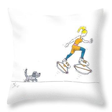Kangoo Jumps Bouncy Shoes Walking The Dog Keep Fit Cartoon Throw Pillow