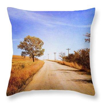 Throw Pillow featuring the photograph Kansas Autumn Rural Road by Anna Louise