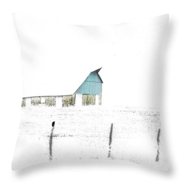 Kansas Blue Barn In Frozen Fog Throw Pillow