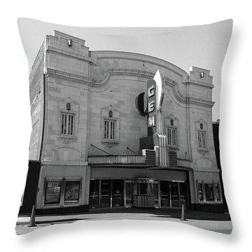 Throw Pillow featuring the photograph Kansas City - Gem Theater Bw by Frank Romeo