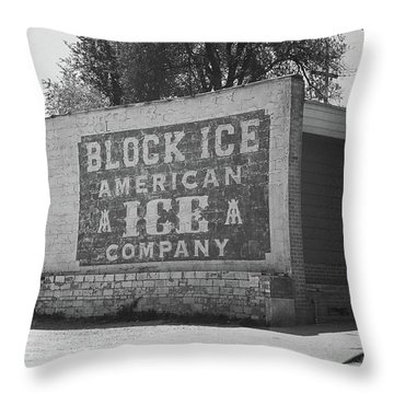 Throw Pillow featuring the photograph Kansas City Ghost Mural Bw by Frank Romeo