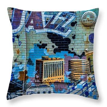 Kansas City Jazz Mural Throw Pillow
