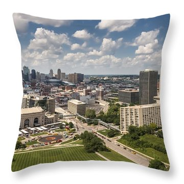 Kansas City Skyline Aerial  Throw Pillow