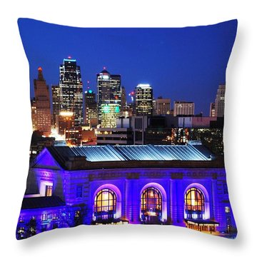Kansas City Skyline At Night Throw Pillow