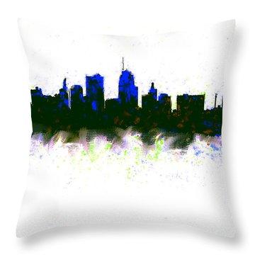 Kansas City Skyline Blue  Throw Pillow by Enki Art