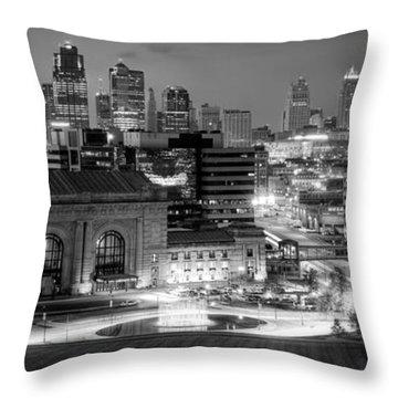 Kansas City Skyline Bw Throw Pillow
