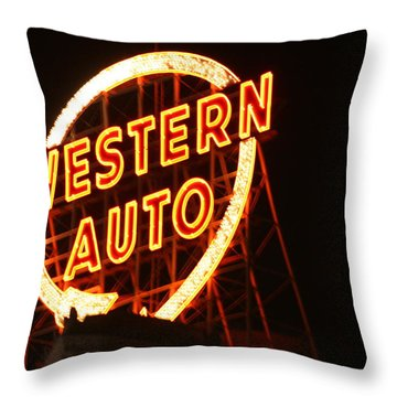Kansas City Western Auto Throw Pillow by David Dunham