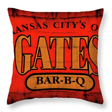 Kansas City's Own Gates Bar-b-q Throw Pillow