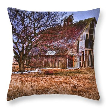 Kansas Countryside Old Barn Throw Pillow