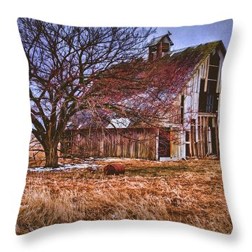 Kansas Countryside Old Barn Throw Pillow