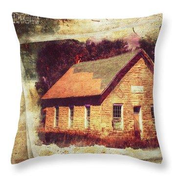 Kansas Old Stone Schoolhouse Throw Pillow