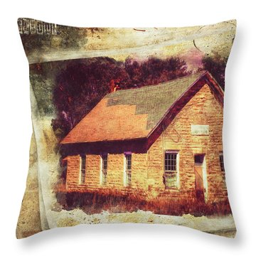 Kansas Old Stone Schoolhouse Throw Pillow