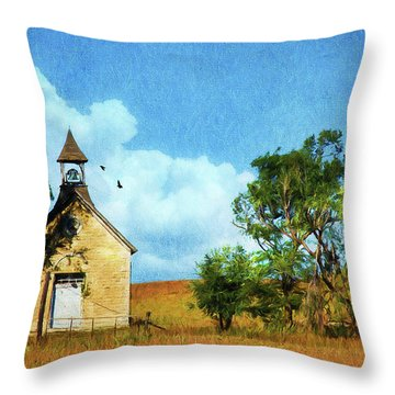 Kansas Prairie Schoolhouse Throw Pillow