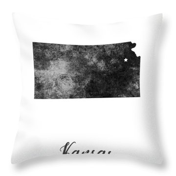 Kansas State Map Art - Grunge Silhouette Throw Pillow