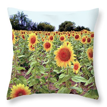 Kansas Sunflower Field Throw Pillow
