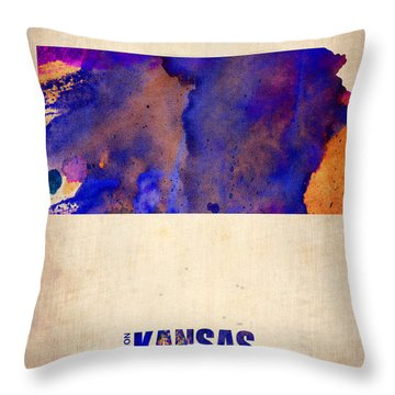 Kansas Watercolor Map Throw Pillow