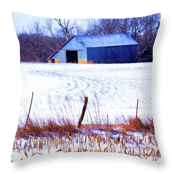 Kansas Winter Field Barn 1 Throw Pillow