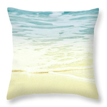 Throw Pillow featuring the photograph Kapalua Beach Dream Colours Sparkling Golden Sand Seafoam Maui by Sharon Mau