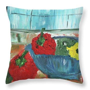 Karens Blue Vase Throw Pillow