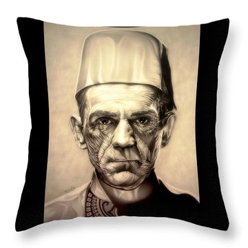 Karloff Throw Pillow by Fred Larucci