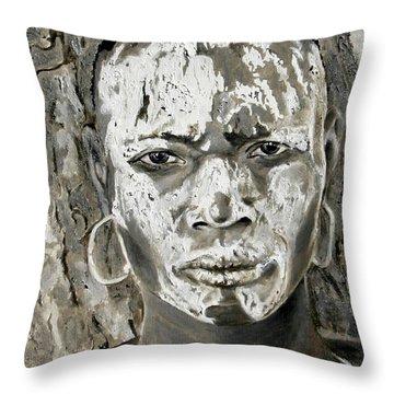 Karo Man Throw Pillow by Enzie Shahmiri