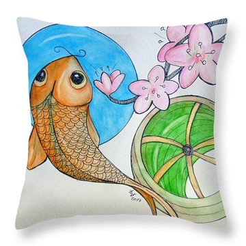 Karp And Cherry Blooms Throw Pillow