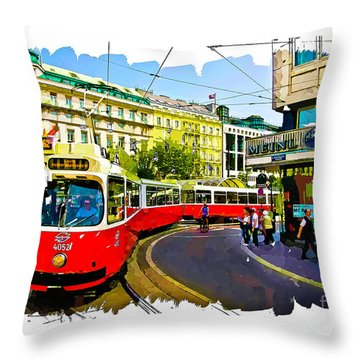 Kartner Strasse - Vienna Throw Pillow by Tom Cameron