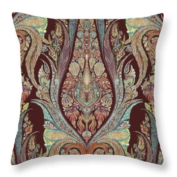 Throw Pillow featuring the painting Kashmir Elephants - Vintage Style Patterned Tribal Boho Chic Art by Audrey Jeanne Roberts