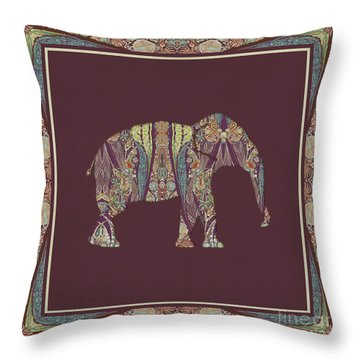 Throw Pillow featuring the painting Kashmir Patterned Elephant 2 - Boho Tribal Home Decor  by Audrey Jeanne Roberts