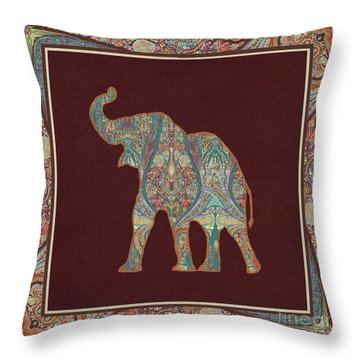 Throw Pillow featuring the painting Kashmir Patterned Elephant 3 - Boho Tribal Home Decor by Audrey Jeanne Roberts
