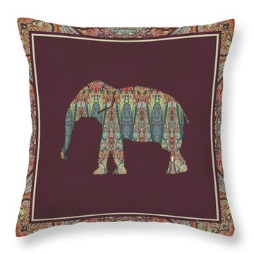 Throw Pillow featuring the painting Kashmir Patterned Elephant - Boho Tribal Home Decor  by Audrey Jeanne Roberts
