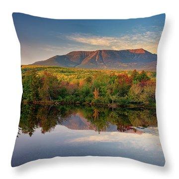 Katahdin At Sunset Throw Pillow