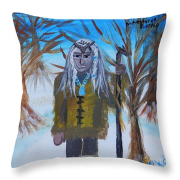 Katanka Protector Of Buffalo Throw Pillow