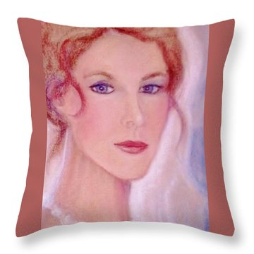 Throw Pillow featuring the drawing Kate by Denise Fulmer