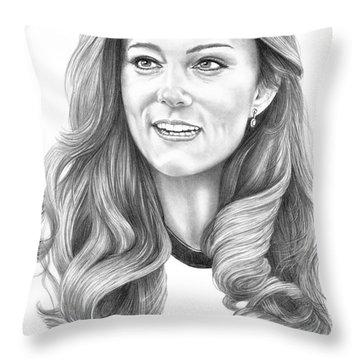 Kate Middleton Catherine Duchess Of Cambridge Throw Pillow by Murphy Elliott