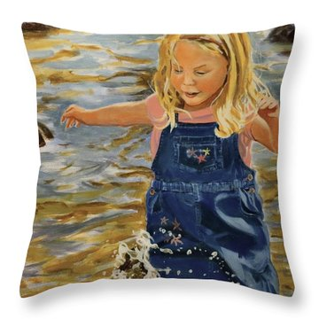 Throw Pillow featuring the painting Kate Splashing by David Gilmore