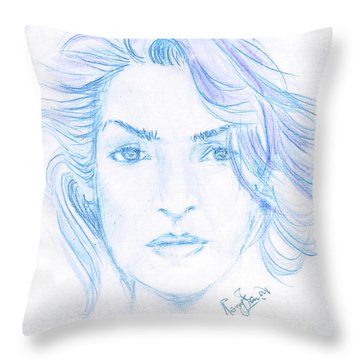 Kate Winslet Throw Pillow by Remy Francis