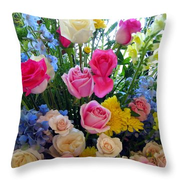 Kate's Flowers Throw Pillow by Carla Parris