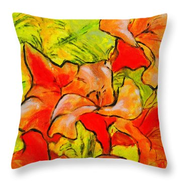 Kathies Daylilies Fine Art Painting North Carolina Throw Pillow