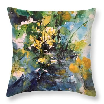 Kathleen's Yellow Flowers Throw Pillow