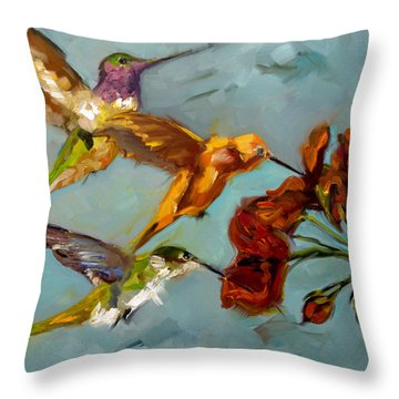 Kathy's Humming Birds Throw Pillow