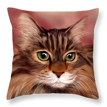 Katie- Custom Cat Portrait Throw Pillow