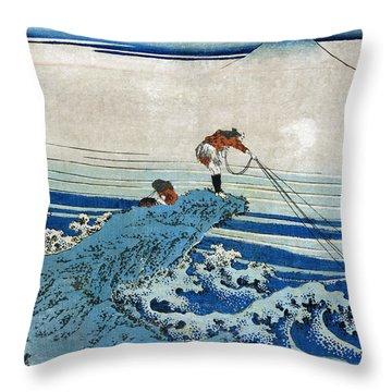 Katsushika: Fishing, C1834 Throw Pillow by Granger