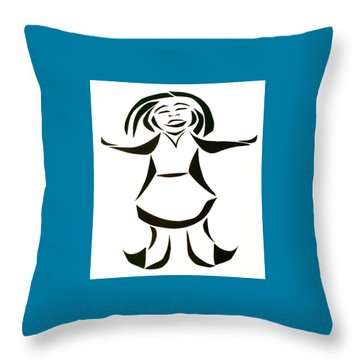 Throw Pillow featuring the mixed media Katy Says Yes by Delin Colon