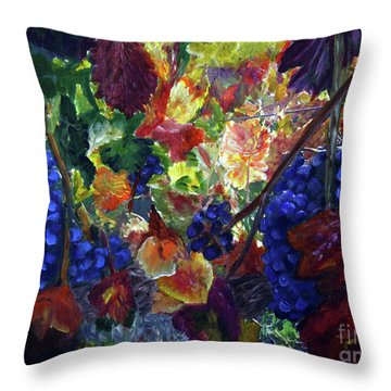 Katy's Grapes Throw Pillow by Donna Walsh