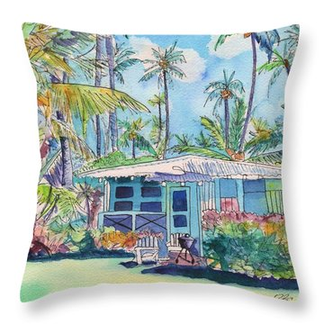 Kauai Blue Cottage 2 Throw Pillow by Marionette Taboniar